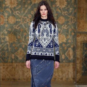 Tory Burch fall 2015 tapestry jacquard sweater